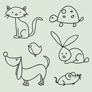 Domestic Cat,Dog,Rabbit - Animal,Mouse,Turtle,Doodle,Cute,Pets,Sketch,Animal,Cartoon,Bird,Ilustration,Clip Art,Scrapbook,Vector,Set,Pencil Drawing,Vector Cartoons,Creativity,Illustrations And Vector Art