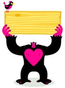 Gorilla,Fur,Wood - Material,Bird,Humor,Heart Shape,Animal Themes,Copy Space,Vector,Wild Animals,Ilustration,Animals And Pets,Grained,Characters,Fun,Concepts And Ideas,Character Traits,Birds,Animal,Pink Color,Standing,Staring,Cartoon