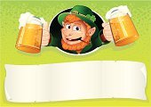 Leprechaun,Beer - Alcohol,Gnome,Dwarf,Poster,Fun,Men,St. Patrick's Day,Pipe,Symbol,Glass,Beer Glass,Clover,Holiday,Hat,Green Color,Irish Culture,Backgrounds,Draught,Vector,Banner,Ilustration,Blank,Smiling