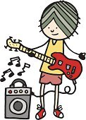 Music,Cartoon,Guitarist,Guitar,Musical Instrument,Musician,Playing,People,Music,Arts And Entertainment,Illustrations And Vector Art,Teenage Boys,One Person,White Background