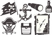 Pirate,Hand-Held Telescope,Anchor,Symbol,Treasure Map,Silhouette,Pirate Flag,Icon Set,Trunk,Sword,Vector,Rum,Sailor Hat,Flag,Rope,corsair,Toxic Substance,Weapon,Ilustration,Human Skull,Vector Icons,filibuster,Illustrations And Vector Art