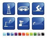 Swimming,Swimming Goggles,Swimming Pool,Computer Icon,Icon Set,Diving,Lifeguard,Swimming Lane Marker,Competition,Sport,Pool Game,Vector,Competitive Sport,Exercising,Protective Eyewear,Green Color,Diving Board,Label,Lifeguard Chair,Blue,Start Position,Black Color,White Background,Red,swim meet,Ilustration,Athlete,Design,No People,Square Shape,Muscular Build,Empty,Sports Race,Sparse