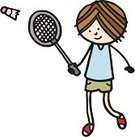 Badminton,Little Boys,Sport,Exercising,Playing,Lifestyle,Sports And Fitness,Action,People,Teenage Boys,White Background,Shuttlecock,One Person