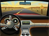 Car,Dashboard,Vehicle Interior,Road,Desert,Rear-View Mirror,Steering Wheel,Radio,Speedometer,Sky,Sunrise - Dawn,Cactus,Sunset,Horizon,Mountain,Mountain Range,Cloudscape,Cloud - Sky,Light - Natural Phenomenon,Road Sign,Cup Holder,Horizon Over Land,Transportation,Travel Locations,Glove Compartment,Sunbeam