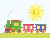 Train,Baby,Child,Toy,Locomotive,Small,Vector,Railroad Track,Sun,Childhood,Clip Art,Computer Graphic,Cheerful,Ilustration,Engine,Sky,Smiling,Image,Fun,Joy,Yellow,Wheel,Baby Shower,Positive Emotion,Bright,Steam,Vibrant Color