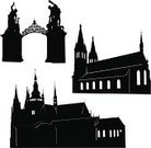 Prague,Silhouette,Church,Castle,Built Structure,Vector,Czech Republic,Cathedral,Black Color,Europe,Architecture,History,Tower,Bohemia,Gate,City,Vysehrad,Painted Image,Ilustration,Architecture And Buildings,St Vitus's Cathedral,Travel,Landmarks,Illustrations And Vector Art,Travel Locations,White