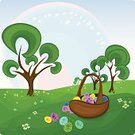 Cartoon,Easter,Grass,Landscape,Tree,Rainbow,Symbol,Sky,Multi Colored,Sun,Isolated,Color Image,Meadow,Vector,Design,Single Object,Basket,Drawing - Art Product,Blue,Pattern,Field,Decoration,Animal Egg,Paint,Beauty In Nature,Ilustration,April,Easter,Illustrations And Vector Art,Painted Image,Pink Color,Image,Holiday Symbols,Springtime,Eggs,Design Element,Holidays And Celebrations,Cultures,Season,Holiday,Green Color,Flower,Nature