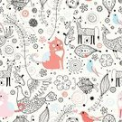 Domestic Cat,Wallpaper,Fairy Tale,Flower,Backgrounds,White,Black Color,Cartoon,Bird,Red,Decoration,Textured Effect,Christmas Ornament,Blue,Nature,Cats,Flowers,Vector Backgrounds,Illustrations And Vector Art,Design,Paintings,Pink Color,Stem,Plant,Animals And Pets