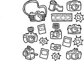 Camera - Photographic Equipment,Doodle,Photography,Retro Revival,Drawing - Art Product,Photography Themes,Sketch,dslr,Instant Camera,Instant Print Transfer,Symbol,Cute,Cartoon,Computer Icon,Ilustration,Vector,Lens - Optical Instrument,Camera Flash,Camera Film,Design,Hobbies,Design Element,Set,Illustrations And Vector Art,Vector Icons,Medium Format Camera,Hand-drawn,point and shoot,Arts And Entertainment,Vector Cartoons,Arts Symbols,single lens reflex,Black And White