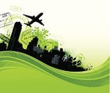 Airplane,Travel,Journey,Vacations,Urban Scene,City Life,City,Green Color,Environmental Conservation,Built Structure,Environment,Passport Stamp,Energy,Vector,Flowing,Carbon Footprint,Transportation,Building Exterior,Design,Nature,Leaf,Plant,Spray,Modern,Wave Pattern,Ilustration,Skyscraper,Splattered,Freshness,Colors,Green Background,Color Image,No People,Grunge,Digitally Generated Image