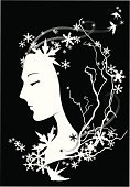 Women,Sleeping,Swallow - Bird,Little Girls,Vector,Winter,Silhouette,Black Color,Snow,Outline,White,Ice,Theatrical Performance,Beauty,Ilustration,Wind,Napping,Simplicity,Flying,Catwalk - Stage,Tranquil Scene,Sparse,Branch,Serene People,Falling,Beauty In Nature,Beautiful,Twig,Resting