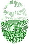 Woodcut,Farm,Watermill,Field,Urban Scene,Landscape,Engraved Image,Agriculture,grist,Nature,Vector,Illustrations And Vector Art,Landscapes,Springtime,Nature,Grass,Painted Image,Scratchboard,Summer