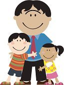 Father,Family,Child,Cartoon,Embracing,One Parent,Care,Vector,Ilustration,Love,Togetherness,Bonding,Harmony