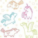 Unicorn,Pegasus,Horse,Computer Graphic,Single Line,Pattern,Happiness,City Of Nice,Design,Tranquil Scene,Cute,Outline,Cheerful,Ilustration,Horned,Flying,Smiling,Wing,Fun,Illustrations And Vector Art,Hoof,Design Element,Multi Colored,Nature,Star Shape,Animal,Animals And Pets,Posing,Vector,Group Of Animals,Small Group Of Animals,Mane