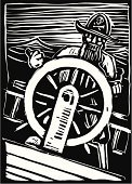 Pirate,Boat Captain,Woodcut,Nautical Vessel,Sea,Wheel,Illustrations And Vector Art,Concepts And Ideas,Transportation,Travel,Exploration,Sailing,naviagate