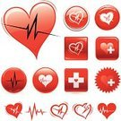 Healthcare And Medicine,Heart Shape,Symbol,Computer Icon,Icon Set,Exercising,Cross Shape,Heart Attack,Interface Icons,Taking Pulse,Vector,Label,Red,Circle,Square Shape,White Background,Sign,Ilustration,Colors,Color Image,Digitally Generated Image,White Cross,Heart Pulse,Adrenaline,No People