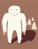Yeti,Fluffy,Monster,Coniferous Tree,Tree,Vector Cartoons,Characters,Illustrations And Vector Art