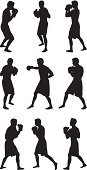 Boxing,Silhouette,Outline,Sport,Male,Punching,Lightweight,Sports Glove,Posing,Knockout,Exercising,Combat Sport,Fighting Stance,Front View,Boxing Glove,Shadow Boxing,Fighting,Strength,Practicing,People,Warming Up,Multiple Image,Digitally Generated Image,Physical Position,Side View,Right Hook,Computer Graphic,uppercut,Men,Vector Graphic,Ilustration,Sports Training,Injecting,featherweight,Vector