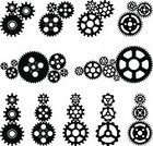 Gear,Vector,Machinery,Engine,Machine Part,Ilustration,Motion,Vehicle Part,Part Of,Black And White,Group of Objects,Black Color,Set,Digitally Generated Image,Collection,White Background