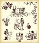 Wine,Grape,Vineyard,Castle,Vine,Wine Bottle,Winery,Farmer,Old-fashioned,Retro Revival,Sketch,Rural Scene,Harvesting,Non-Urban Scene,winemaker,House,Ilustration,Vintner,Winemaking,Drawing - Art Product,Pushing,Manual Worker,Farm,Plant,Pencil Drawing,Landscape,Men,Bottle,Village,Fruit,One Person,Growth,Picking,Cultivated,Land,Drink,oldfashioned,Alcohol,Landscaped,Nature,Alcohol,Plants,Nature,hand drawn,Landscapes,Agriculture,Food And Drink