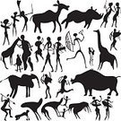 Cave Painting,Prehistoric Era,Silhouette,Giraffe,Community,Deer,Animal,Rhinoceros,People,Hunting,Donkey,Art,Men,Arrow,Women,Vector,Wild Animals,Vector Backgrounds,People,Animals And Pets,Ilustration,Illustrations And Vector Art