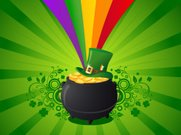 Pot Of Gold,Leprechaun,Rainbow,St. Patrick's Day,Clover,Backgrounds,Vector Backgrounds,Holidays And Celebrations,Illustrations And Vector Art,flower ornament,Irish Flag