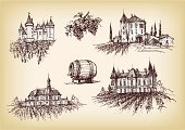 Castle,Vineyard,House,France,Grape,Winery,Farm,Old,Sketch,Vine,Drawing - Art Product,Retro Revival,Ilustration,Rural Scene,Antique,Old-fashioned,Landscape,Pencil Drawing,Built Structure,Cultures,Building Exterior,Growth,Fruit,Winemaking,Plant,Agriculture,Outdoors,Majestic,Architecture And Buildings,Landscapes,Nature,Alcohol,Food And Drink,Homes,antiquarian,Grunge,Drink,hand drawn,Nature