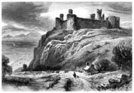 Castle,Wales,Landscape,Mountain,Drawing - Art Product,Sketch,Ilustration,Engraved Image,Medieval,Ruined,Fort,Vertical,Old,Hill,Old Ruin,Military,History,Built Structure,Harlech Castle,Rock - Object,Circa 13th Century,Cottage,Building Exterior,Lifestyles,Welsh Culture,Image Created 1870-1879,world heritage,Old-fashioned,Man Made Structure,Tower,Travel Destinations,Ephemera,Non-Urban Scene,Outdoors,Famous Place,Gwynedd,military history,Owain Glyn Dŵr,Black And White,19th Century Style,UK,Monochrome,Owain Glendower,Antique,Edward I Of England,The Past,Tourism,Cultures,Day,Road,Social History,Image Created 19th Century