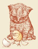 Bird,Chicken - Bird,Kitten,Domestic Cat,Animal Egg,Weakness,Hatching,Ilustration,Small,Livestock,Drawing - Art Product,Young Animal,Animal,New Life,Baby Animals,Sketch,Two Animals,Baby Chicken,Cub,Cats,Mammal,Pets,Domestic Animals,Shaggy,Farm Animals,Cartoon,Fluffy,Animals And Pets