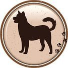 Dog,Silhouette,Circle,Pets,Footprint,Animal,Playing,Canine,Track,Domestic Animals,Hoofed Mammal,Brown,Label,Animal Themes,Cute,Friendship