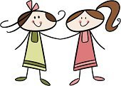 Computer Graphics,People,Friendship,Joy,Harmony,Partnership - Teamwork,Unity,Dress,Cheerful,Smiling,Multi Colored,Childhood,Computer Graphic,Child,Cut Out,Cute,Color Image,Illustration,Cartoon,Two People,Females,Girls,Doodle,Vector,Children Only,Clip Art