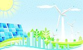 Solar Power Station,Sun,Alternative Energy,Environment,City,Solar Panel,Nature,Power Station,Urban Scene,Wind Turbine,Clean,Pollution,Fuel and Power Generation,Abstract,Power Supply,Environmental Conservation,Technology Abstract,Technology,Nature,Tree,Landscaped,Sky,Illustrations And Vector Art