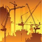 Construction Industry,Construction Site,Crane - Construction Machinery,Construction Frame,Industry,Engineering,Silhouette,Backgrounds,Hoisting,Tower,Vector,Ilustration,Industry,Vector Backgrounds,Construction,Illustrations And Vector Art