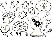 Doodle,Human Brain,Ideas,Brainstorming,Sketch,Inspiration,Light Bulb,Innovation,Thinking,Contemplation,Strategy,Drawing - Art Product,Creativity,Question Mark,Box - Container,Gear,Puzzle,Symbol,Confusion,Concentration,Analyzing,Jigsaw Puzzle,Thought Bubble,Icon Set,Pencil Drawing,Jigsaw Piece,Thinking Outside The Box,Concepts And Ideas,Illustrations And Vector Art,Business,Vector Icons,Business Symbols/Metaphors,Pinion