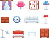 Furniture,Curtain,Icon Set,Sofa,Cabinet,Bed,House,Home Interior,Indoors,Set,Armchair,Shelf,Electric Lamp,Clock,Table,Bookshelf,Isolated-Background Objects,Vector Cartoons,Objects/Equipment,Household Objects/Equipment,Office Building,Comfortable,Illustrations And Vector Art,Isolated Objects