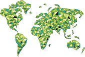 Triangle,World Map,Map,Pattern,Tree,Abstract,Creativity,Green Color,Vector,Design,Ilustration,Part Of,Illustrations And Vector Art,Design Element,Glass - Material