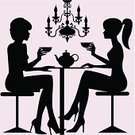 Women,Coffee - Drink,Drinking,Silhouette,Chandelier,Talking,Two People,Friendship,Sitting,People,Vector,Cup,Table,Couple,Fun,Ilustration,Dating,Black Color,Elegance,Female,Celebration,Holidays And Celebrations,Adult,Lifestyles,Illustrations And Vector Art,Lifestyle