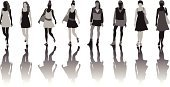 People,Dress,Human Body Part,Walking,Shadow,Silhouette,Beauty,Teenager,Adult,Young Adult,Illustration,Group Of People,Women,Young Women,Teenage Girls,Fashion Model,Vector,Fashion,Beautiful People,The Human Body