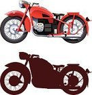 Motorcycle,Classic,Side View,Ilustration,Vector,Land Vehicle,White Background,Red,Transportation,Illustrations And Vector Art,Image,Isolated On White