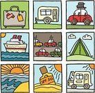 Cartoon,Nautical Vessel,Motor Home,Mobile Home,Camping,Travel,Beach,Doodle,Summer,Vacations,Sea,Tent,Suitcase,Travel Destinations,Car,Block,Sun,Traffic,Roofrack,Cruise Ship,Square,Heat - Temperature,Luggage,Travel Locations,Holidays,Vector Icons,Illustrations And Vector Art,Sunset,Traffic Jam,Suntan Lotion,Sunlight
