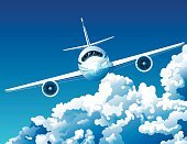 Airplane,Cloud - Sky,Cloudscape,Private Airplane,Sky,Flying,Vector,Front View,Commercial Airplane,Business,Computer Graphic,Travel,Control,Blue,Looking Through Window,Journey,Speed,Engine,Transportation,High Up,Horizontal,Mid-Air,turbosine,Business,Air Travel,Business Travel,Travel Locations,Illustrations And Vector Art