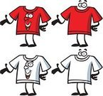T-Shirt,Cartoon,Showing,Red,Characters,White,Blank,Vector,White Background