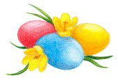 Easter,Ilustration,Yellow,White,Religion,Christianity,Crocus,Red,Nature,Isolated On White,Holidays And Celebrations,Design Element,Eggs,Cut Out,Springtime,Blue,Art,colored pencil,Flower,Isolated,Illustrations And Vector Art,Easter,Cultures,Holiday,Ornate,Grass,Pencil Drawing,Celebration,Painted Image,Paintings
