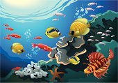 Reef,Sea,Coral,Underwater,Fish,Lionfish,Vector,Tropical Climate,Deep,At The Bottom Of,Water,Animal,Diving,Life,Seaweed,Starfish,Nature,Ilustration,Algae,Herring,Angelfish,Bubble,Animals And Pets,Illustrations And Vector Art,Wildlife,Nature,Bodies Of Water,Swimming Animal,Art Product