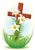 Easter,Cross,Cross Shape,Easter Lily,Lily,Crucifix,Spirituality,Religion,Single Flower,Flower,Vector,White,Green Color,Symbol,Leaf,Wood - Material,Blue,Plant,Brown,Bud,Red,Holiday,Petal,Orange Color