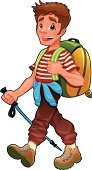 Hiking,Backpack,Little Boys,Cartoon,Walking,Teenager,Mountain,Student,Men,Vector,Jogging,Characters,Stick - Plant Part,Illustration Technique,Season,Journey,Cute,Sports And Fitness,Teens,Illustrations And Vector Art,Smiley Face,Sport,Brown,Springtime,Cheerful,Lifestyle,Summer,Remote,Single Object,Color Image,Facial Expression,Humor