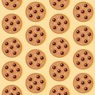 Cookie,Chocolate Chip Cookie,Chocolate,Chocolate Chip,Seamless,Pattern,Vector,Sweet Food,Ilustration,Multi Colored,Baked,Food,Square,No People,Repetition,Brown