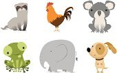 Badger,Elephant,Koala,Chicken - Bird,Frog,Cartoon,Vector,Rooster,Animal,Young Animal,Dog,Baby Animals,Vector Cartoons,Dogs,Animals And Pets,Set,Illustrations And Vector Art