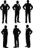 Businessman,Silhouette,Rear View,Suit,Outline,Arms Akimbo,Front View,Business Person,Vector,Confidence,Full Length,Turning,Behind View,Isolated,Standing,Clip Art,Computer Graphic,360-degree View,Well-dressed,Black And White,Multiple Image,Side View,Isolated On White,Ilustration,Posture,Male Men,Legs Apart,Vector Graphics,Black Color,Digitally Generated Image,White Background