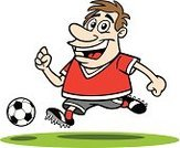 Soccer,Running,Cartoon,Men,Sport,Soccer Ball,Exercising,Cheerful,Happiness,Hobbies,Healthy Lifestyle,Sports League,Sports Team,Male,Sports Uniform,Humor